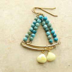 Turquoise and Lemon Jade Chandelier Earrings by HeatherBerry