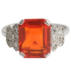 Fire Opal Ring   From a unique collection of vintage cocktail rings at http://www.1stdibs.com/jewelry/rings/cocktail-rings/