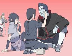"Itachi is so focused on Kisame's wounds and Sasuke is all ""OH hey bro look ow mine hurts too...pay attention to me..."" Then there is killa bee...""Yal'llz are crazy, yo.""...I need help..."