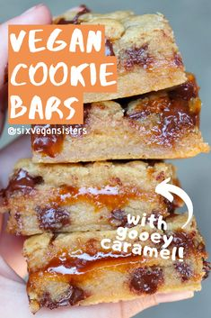 These chocolate chip cookie bars are filled with gooey homemade caramel! Plus, this recipe is easier to make than you'd think. #vegan #veganrecipes #plantbased #plantbasedrecipes #sixvegansisters