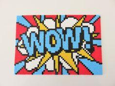 Tableau pop art WOW ! Tableau en perles à repasser de marque HAMA. Pixel art. de la boutique MissBricolette sur Etsy