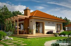 Its so cool villa, what do you want to live in there? Modern Bungalow House, Modern House Plans, Small House Plans, Village House Design, Village Houses, Prefabricated Houses, Prefab Homes, Beautiful House Plans, Beautiful Homes