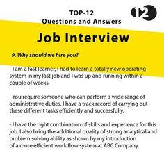 Job Interview Questions Part 9 Job Interview Answers, Job Interview Preparation, Interview Skills, Job Interview Tips, Job Interviews, Resume Skills, Job Resume, Resume Tips, Resume 2017