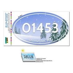 01453 Leominster, MA - Snowy Trees - Oval Zip Code Sticker