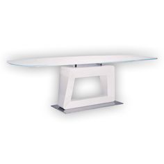 Extending Dining Table With White Tempered Gl Top High Gloss Pedestal And Polished