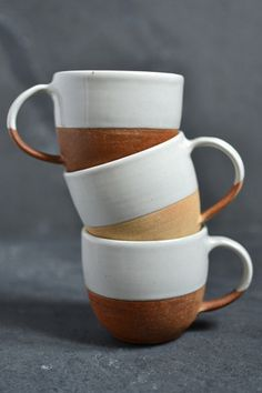 Terracotta coffee cup | dipped white glaze | Decorator's Notebook