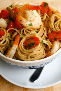 Sautéed Shrimp with White Wine  -   A seafood pasta dish with a splash of white wine and the ever-present savory flavors of garlic and sweet cherry tomatoes. This delicious meal is only enhanced by the nutty, earthy presence of our 100% whole wheat pasta.