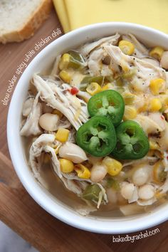 Slow Cooker Spicy White Chicken Chili - chicken, white beans, corn, green pepper, onion, jalapeno, and seasonings for a unique take on the typical chili.