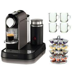 Nespresso Citiz C120 Espresso Maker w/ Aeroccino Milk Frother in Titanium + 4 Piece 10 oz. ARC Handy Glass Coffe Mug + 40 Capsule Coffee Carousel - http://nespressoshop.net/nespresso-citiz-c120-espresso-maker-w-aeroccino-milk-frother-in-titanium-4-piece-10-oz-arc-handy-glass-coffe-mug-40-capsule-coffee-carousel
