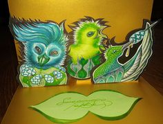 An Easter 2015 pop up card with participation of 3 birdies Easter eggs' enthusiasts :}  #Easter #Easter card