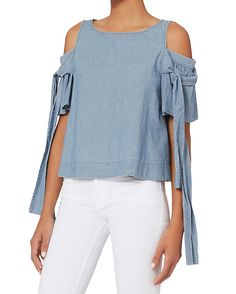 Sea Cutout Shoulder Bow Top