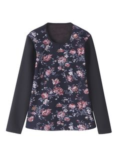 Sale 13% (24.39$) - Casual Women Floral Printed Long Sleeve O-Neck Velvet Thicken T-shirts