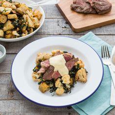 Sirloin Steaks with Roast Veggie Salad and Bearnaise Sauce