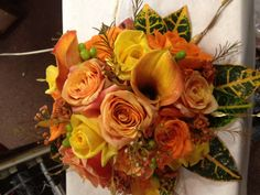 bridal bouquet using croton leaves