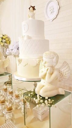 Angel themed cake from a White Angel Baptism Party on Kara's Party Ideas   KarasPartyIdeas.com (24)