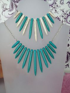 Turquoise Stick Necklace gemstone necklace by FancyFlairLtd, $25.00