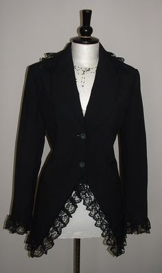 ladies black jacket blazer long riding gothic by darkestdreams
