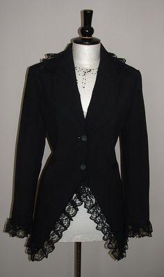 ladies black jacket blazer long riding gothic by darkestdreams