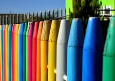 """Fenced In By A Rainbow Of Colors. [A giant """"Crayion"""" Fence at a kindergarten school; Nicosia suburbs, Cyprus.]"""