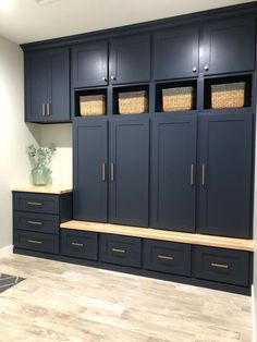 Custom built-in lockers in for drop zone area. C&E Builders used Benjamin Moore Hale Navy for the color and finished the hardware off with Berenson modern bronze swagger. Custom built-in lockers in for drop zone area. C&E Builders us Mudroom Laundry Room, Laundry Room Remodel, Laundry Room Design, Kitchen Remodel, Mud Room Lockers, Home Renovation, Home Remodeling, Built In Lockers, Flur Design