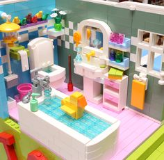 https://flic.kr/p/vsFkbc | LEGO Dream House - Bathroom | Finalist in ACGHK2015 Colorful theme  More photo: lego.alanstudio.hk/moc-DreamHouse.htm