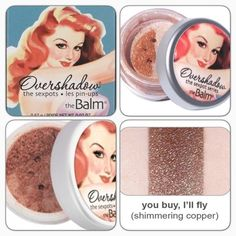 the Balm Overshadow - You Buy, I'll Fly The first finely milled, all-mineral shimmer designed to go over eyeshadow. Apply to the lid to transform the most subtle daytime shadow into nighttime shimmer. In: You Buy, I'll Fly (shimmering copper), works well over browns, oranges & yellows. BNIB. Never used or swatched. 100% Authentic. No Trades. Price firm unless bundled. All sales final. Ask questions prior to purchasing. Thanks for visiting & Happy Poshing! The Balm Makeup Eyeshadow