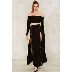 Snap to It Slit Skirt ($48) ❤ liked on Polyvore featuring skirts, long slit skirt, high rise skirts, slit maxi skirt, high-waisted skirts and high waisted maxi skirt