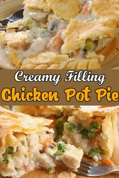 Easy Chicken Pot Pie - All Chicken Recipes Easy Chicken Pot Pie This Chicken Pot Pie recipe is the Best Homemade Chicken Pot Pie you will ever find. This creamy Chicken Pot Pie is a perfect dinner. Chicken Pot Pie Filling, Chicken Pot Pie Casserole, Best Chicken Pot Pie, Chicken Potpie Recipes, Chicken Pie Recipe Easy, Chicken Pot Pie Recipe Pioneer Woman, Magic Chicken, Healthy Chicken Pot Pie, Cooked Chicken Recipes