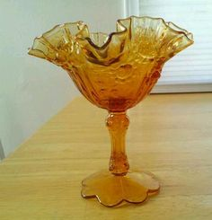 Vintage Amber Ruffled Sides Candy Dish Flower Motif May be Fenton