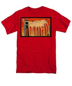 Abstract Men's T-Shirt (Regular Fit) featuring the painting The Herdsmen by Mario Perron http://1-mario-perron.pixels.com/products/the-herdsmen-mario-perron-adult-tshirt.html