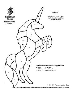 Free Stained Glass Pattern 2050-Unicorn  - I'm going to draw lots of different unicorns on the driveway for the little ones to decorate with chalk!