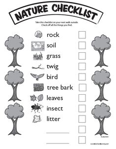 Nature Checklist at Lakeshore Learning: Take the kids on a nature walk—and bring this list to track your discoveries! Big kids could hold lists and help little ones look for nature! Outdoor Education, Outdoor Learning, Nature Activities, Science Activities, Science Nature, Summer Activities, Preschool Science, Preschool Classroom, Preschool Garden