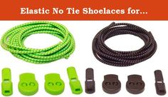 """Elastic No Tie Shoelaces for Adults and Children (2-Pack) (47"""" with Locking System, Green & Black). Length: 39"""" (100 cms) Package contents: 2 shoelace pairs Color: orange, purple Ready, set, go! You are ready to conquer the day or the tracks and then....oh no! You have to stop to tie your shoes. Worry no more! These elastic laces, in our favorite red and blue colors will come to your rescue. Just slip in and out of your shoes. And due to the elasticity of the laces, your shoes will still…"""