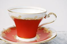 Aynsley Teacup and Saucer, Pumpkin Orange and White Corset (is everything I want and will have)