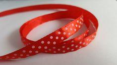 3m Ribbon - Printed Satin - 10mm - Polka Dot - Red