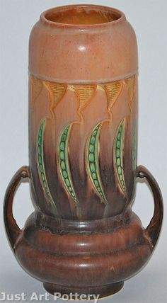Roseville Pottery Falline Brown Vase 653-12 from Just Art Pottery