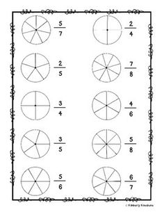 "math I made this ""pie"" coloring worksheet to help my kiddos practice basic fractions. All they will need to do is simply color the ""pie"" according to the given fraction. I have provided enough t Math Fractions Worksheets, 3rd Grade Fractions, First Grade Math Worksheets, School Worksheets, Math Vocabulary, Math Literacy, Kindergarten Math, Math Activities, Math Math"
