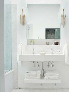 Possibly do this concept- build a counter type shelf directly below sink and then another shelf  down low for towels etc. Cut around basins and pedestals