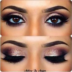 Sparkly rose gold eye makeup