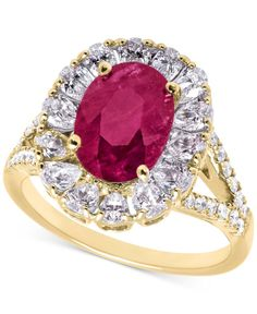 Rare Featuring Gemfields Certified Ruby (1-3/4 ct. t.w.) and Diamond (1-1/5 ct. t.w.) Ring in 14k Gold