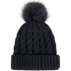 Women's Winter Soft Knitted Beanie Hat with Faux Fur Pom Pom, Black at... (€11) ❤ liked on Polyvore featuring accessories, hats, beanie, beanie cap hat, beanie caps, faux fur pom pom hats, pompom hat and beanie hat