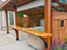 Here, we share a lot of DIY hot tub privacy ideas that you can include on your DIY project plan right away! Hot Tub Privacy, Hot Tub Gazebo, Hot Tub Backyard, Whirlpool Deck, Big Leaf Plants, Backyard Pavilion, Backyard Gazebo, Pergola Patio, Steel Pergola