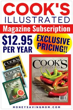 Looking for a great deal on a Cook's Magazine subscription?  How about $12.95 a year!  Get some amazing recipes in your mailbox each month at such a low price!  #cooksillustrated #recipemagazine #magazine Frugal Meals, Cheap Meals, Budget Meals, Healthy Foods To Eat, Healthy Snacks, Healthy Eating, Freezer Cooking, Cooking Tips, Monthly Menu
