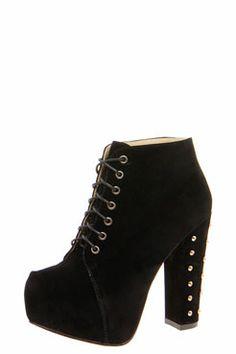 Zina Studded Block Heel Lace Up Shoe Boots