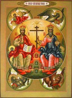 Ο Τριαδικός Θεός, μετά των Ευαγγελιστών και των Αΰλων Ασωμάτων Δυνάμεων.
