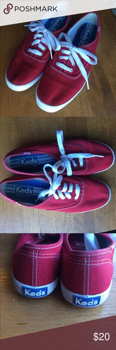 Keds Red Lace Up Sneakers Size 7.5 Women's Super cute! Laces are slightly dingy and could stand to be changed out. The white outsoles have some small marks here and there. Not worn out :) Keds Shoes Sneakers