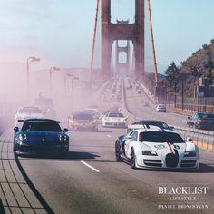 Madness on the Golden Gate Bridge! | Photo by @guywithacamera415 | @goldrushrally | #blacklist #bugatti #porsche #mclaren #goldengatebridge