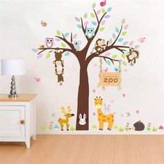 Nursery Décor Provided 260x360cm Reindeer Tree Forest Birds Wall Stickers Decal Kids Art Nursery Decor In Pain