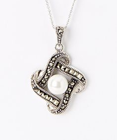 Sterling Silver & Pearl Marcasite Interlocked Pendant Necklace | zulily