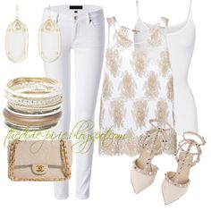 Lace. Summer outfit. White jeans. Lauren Scott jewelry. Fashion bloggers. Fashion for women over 40. by dixiepixie on Polyvore featuring P.A.R.O.S.H., American Vintage, Juicy Couture, Valentino, Chanel, Wet Seal and Kendra Scott